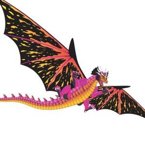 Aquilone in tessuto e fibra di vetro con la forma di drago per bambini