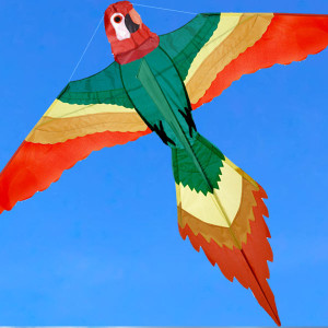 Aquilone dalla forma a pappagallo con stecche in fibra di vetro e tessuto di spinnaker