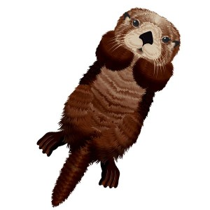 Aquilone in tessuto e fibra di vetro con la forma di lontra per bambini